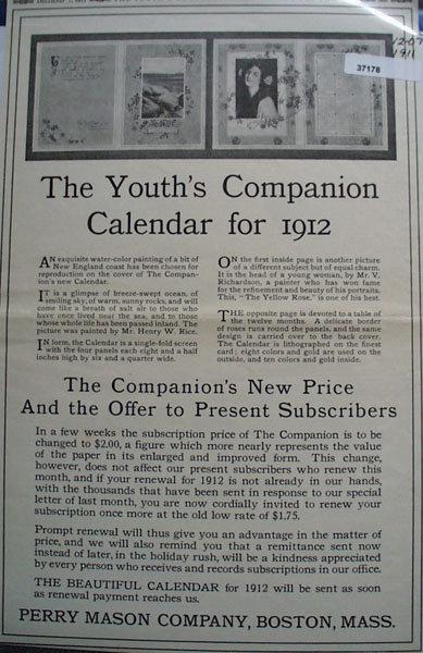 Youths Companion Calendar 1911  Ad