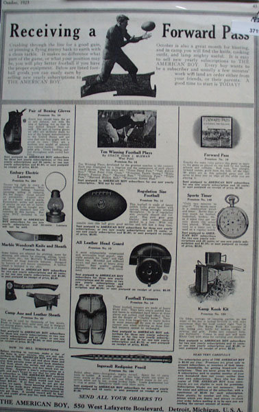 The American Boy Premiums 1923 Ad