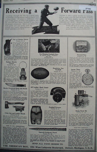 The American Boy Premiums 1923 Ad