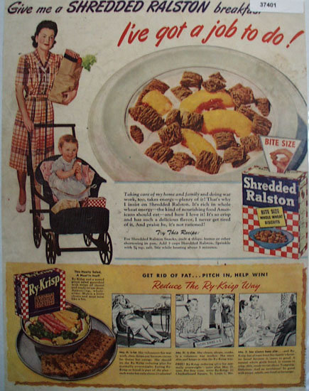 Shredded Ralston Cereal 1943 Ad