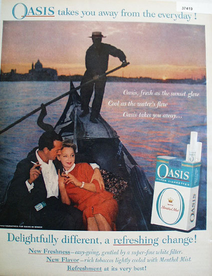 Oasis Filter Cigarette 1959 Ad