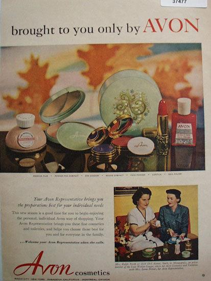 Avon Cosmetics 1953 Avon Representative Ad