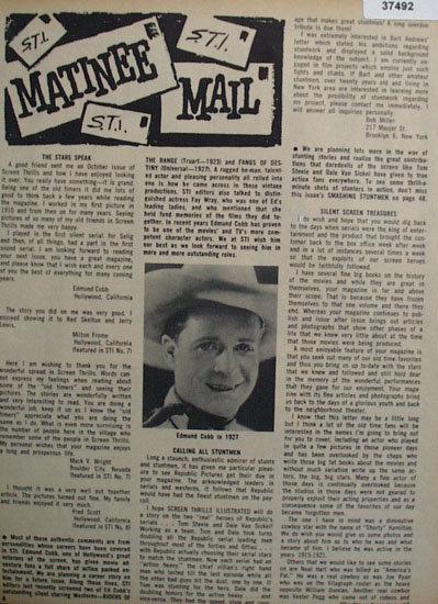 Matinee Mail Movie Stars 1964 Article