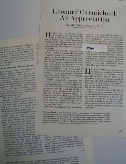Leonard Carmichael An Appreciation 1973 Article.