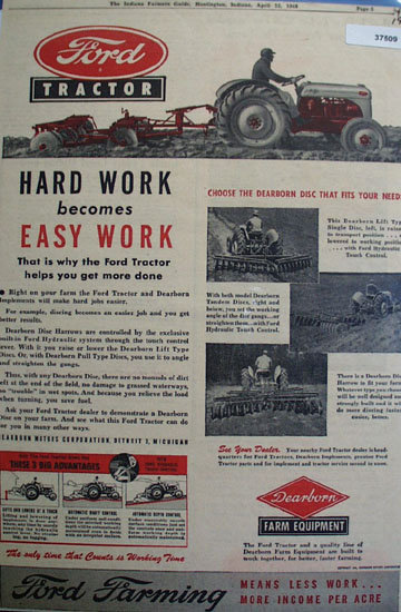 Ford Tractor Dearborn Farm Equipment 1948 Ad