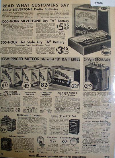 Silvertone And Meteor Radio Batteries 1935 Ad