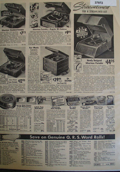 Silvertone Streamliner Portable Record Players 1938 Ad