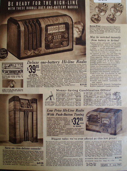 Sears Hi Line Radio 1938 Ad