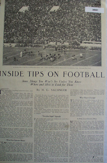 Inside Tips On football 1923 Article