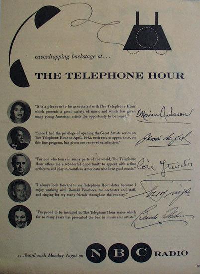 The Telephone Hour On NBC Radio 1953 Ad