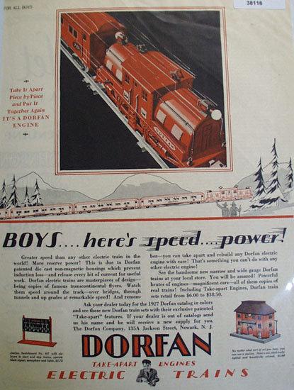 Dorfan Electric Trains 1927 Ad