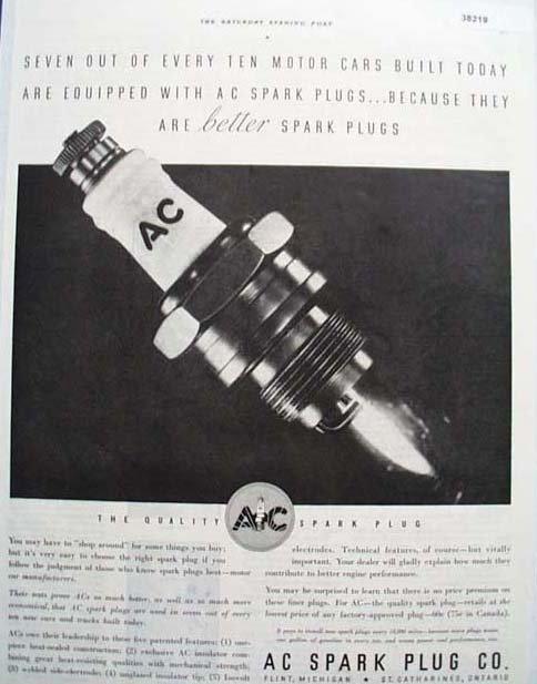 A C Spark Plugs 1933 Ad