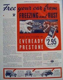 Eveready Prestone Anti Freeze 1933 Ad