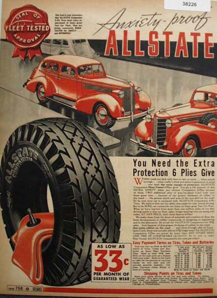 Allstate Fleet Tested Tires 1938 Ad
