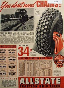 Allstate Traction Grip Tires 1938 Ad