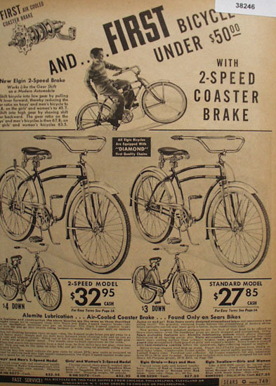 Sears Elgin 2 Speed Bike 1938 Ad