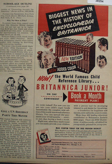 Encyclopaedia Britannica Junior 1953 Ad
