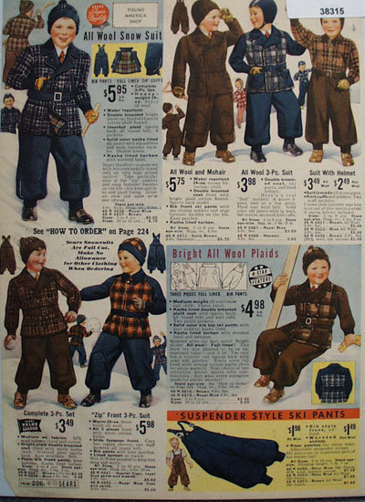 Sears Boys Snow Suits 1938 Ad