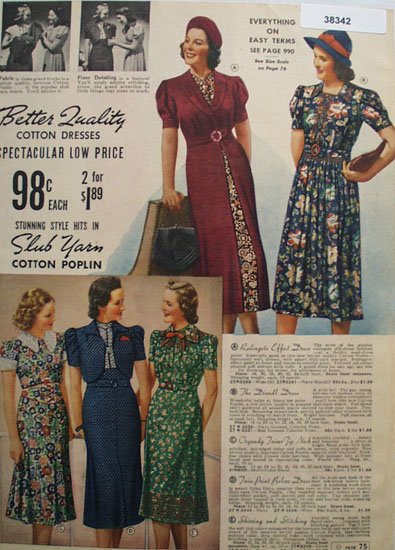 Sears Cotton Dresses 1938 Ad