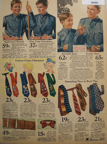 Boys Work Shirts, Ties And Belt 1935 Ad.
