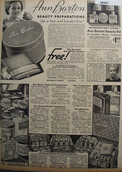 Sears Beauty Preparations 1936 Ad