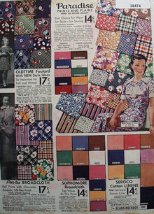 Sears Fabric in Prints and Plain 1936 Ad