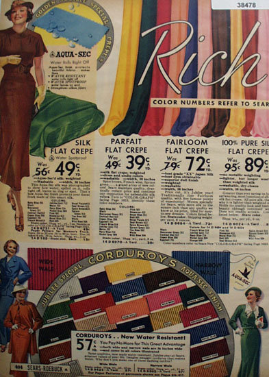 Sears Jubilee Specials Crepe And Corduroy 1936 Ad