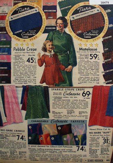 Sears Tira Celanese Fabric 1936 Ad