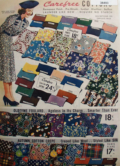 Sears Carefree Cotton Fabric 1938 Ad