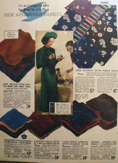 Sears Afternoon Fabric 1938 Ad