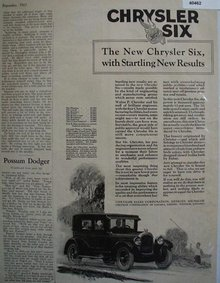 Chrysler Sales Corp. Chrysler Six 1925 Ad