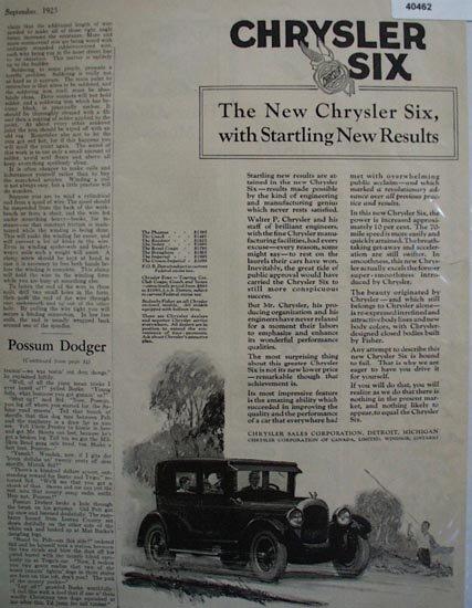 Chrysler Sales Corp. Chrysler Six 1925 Ad