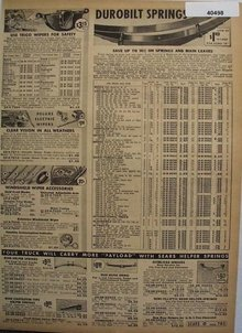 Sears Durobilt Car Springs And Parts 1938