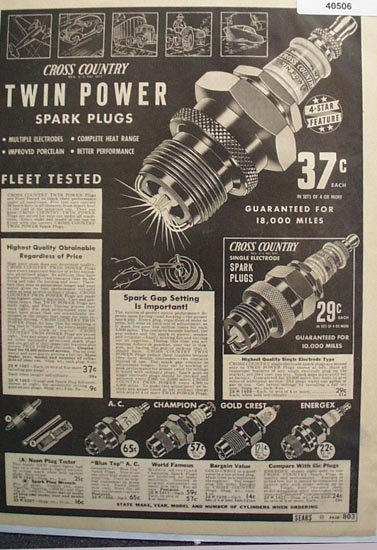 Sears Cross Country Spark Plugs 1938 Ad