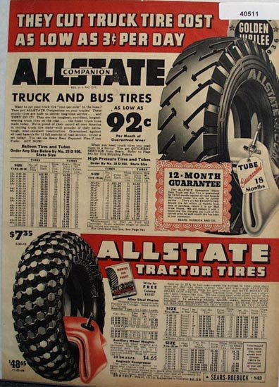 Allstate Tractor Truck And Bus Tires 1936 Ad