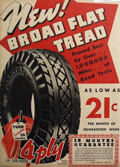Sears Allstate Companion Tire 1936 Ad
