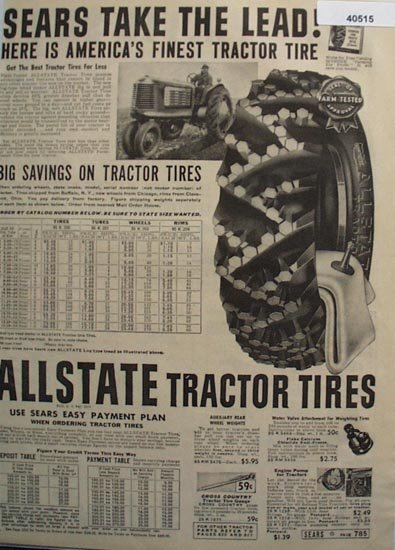 Sears Allstate Tractor Tire 1938 Ad
