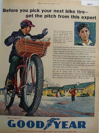 Good Year Bicycle Tire 1960 Ad