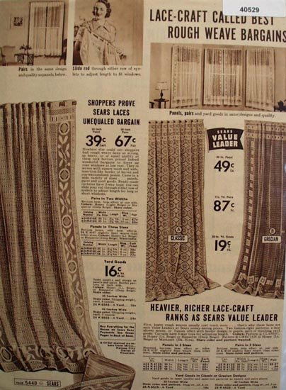 Sears Lace Window Curtain 1938 Ad.