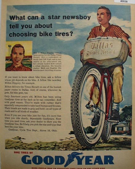 Good Year Bicycle Tires 1960 Ad