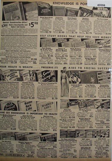 Sears Books on Health, Self Help And Jokes 1936 ad