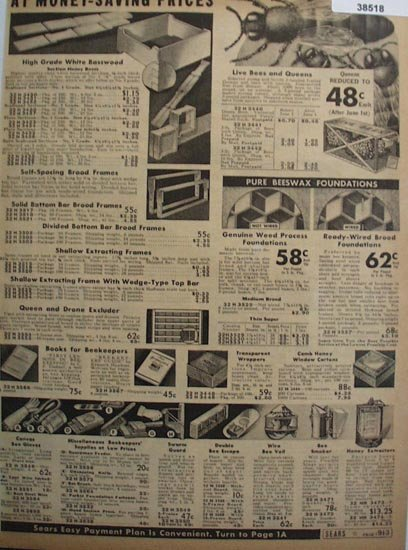 Sears Beekeepers Supplies 1938 Ad