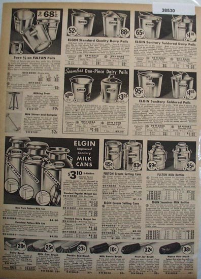 Sears Milk Cans and Pails 1938 Ad