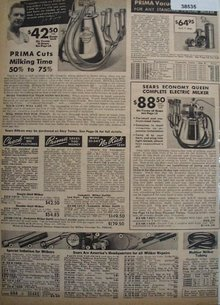 Sears Prima Milking Machine 1938 Ad