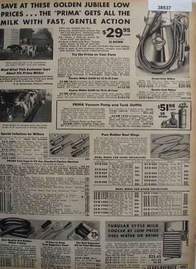 Sears Milking Machine and Supplies 1936 Ad