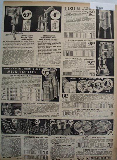 Sears Cream Separators Milk Bottles and Caps 1936 Ad