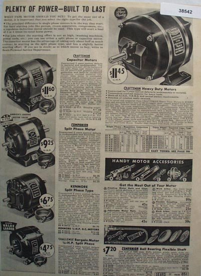 Sears Electric Motors and Accessories 1938 Ad