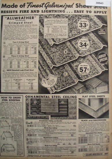 Sears Galvanized Steel Roofing 1936 Ad