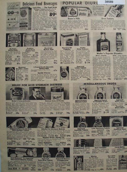 Sears Food Beverages and Drugs 1938 Ad