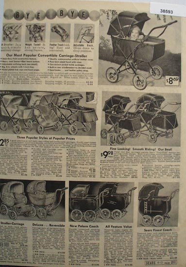 Sears Carriage Strollers 1938 Ad